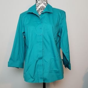 Chico's button-up blouse teal